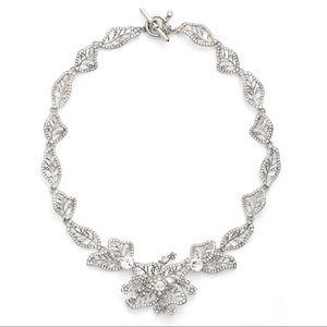 Marchesa Crystal Leaf Collar Necklace